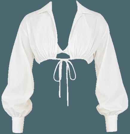 'Wishlist' White Balloon Sleeve Cropped Shirt With Bralette - Mistress Rock