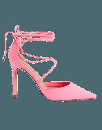 ASOS DESIGN Wide Fit Whisper tie leg high stiletto heels in bright pink | ASOS