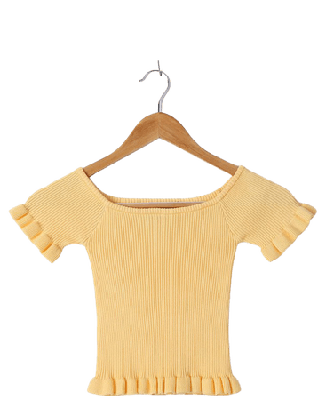 Yellow Knit Top - Ruffled Crop Top - Short Sleeve Sweater Top - Lulus