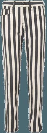Striped Low-rise Slim-leg Jeans - Black
