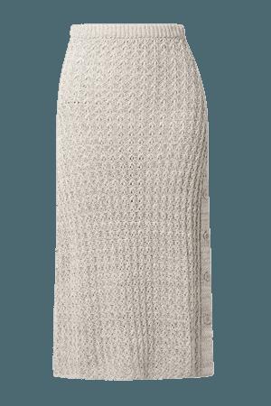 Linen And Cotton-blend Midi Skirt - Light gray