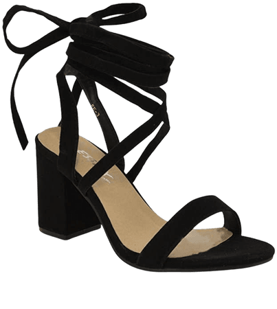 Amazon.com | ESSEX GLAM Womens Chunky Block Low Mid Heel Lace Up Strappy Sandal Faux Suede Shoes | Heeled Sandals