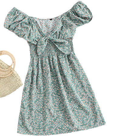 Floerns Women's Ditsy Floral High Waist Puff Sleeve Tie Front A Line Mini Dress Mint Green S at Amazon Women's Clothing store