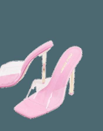 Public Desire Amaze clear heel mule sandals in pink | ASOS