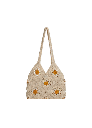 Floral crochet bag - Woman | Mango Greece