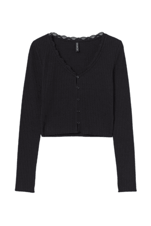 Ribbed Top - Black - Ladies   H&M US