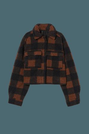 Short Faux Shearling Jacket - Brown/black checked - Ladies | H&M US