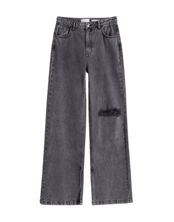 Wide-leg twill pants - Pants - Woman | Bershka