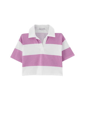 Cropped polo shirt with wide stripes - pull&bear