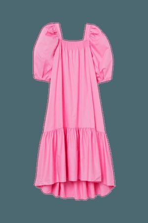 Puff-sleeved Cotton Dress - Pink