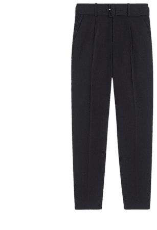 High-waisted belted pant in matte crepe