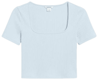 Square neck crop top - Blue - Cropped tops - Monki WW