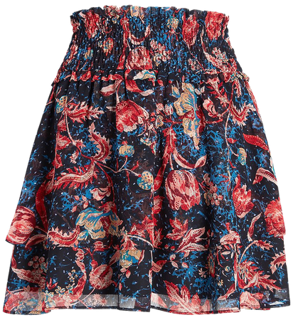 High Waisted Floral Smocked Tiered Ruffle Mini Skirt | Express