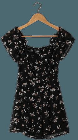 Black Floral Romper - OTS Romper - Short Sleeve Romper - Lulus