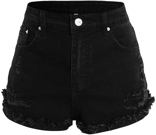 LilyCoco Women's Raw Hem Mid Rise Ripped Denim Shorts Frayed Distressed Jeans Short at Amazon Women's Clothing store