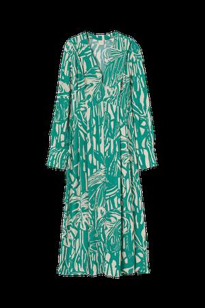 Long V-neck Dress - Green