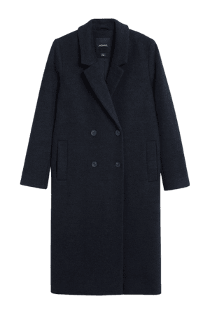 Classic double-breasted coat - Dark blue - Coats - Monki WW