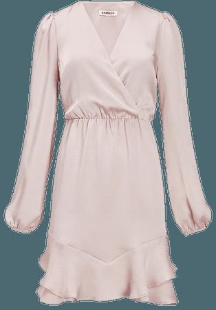 Satin Ruffle Hem Wrap Front Dress