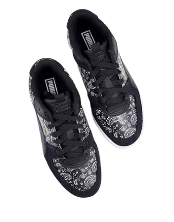 Puma Cali Sport sneakers in black and paisley print   ASOS