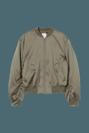 Satin Bomber Jacket - Khaki green - Ladies | H&M US