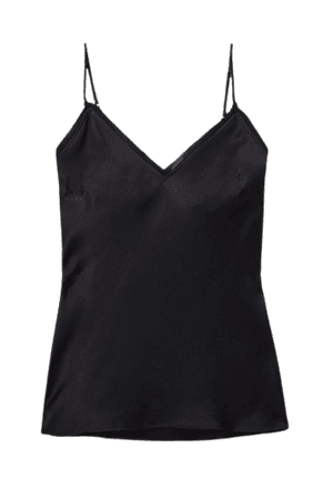 Frayed Silk-satin Camisole - Black