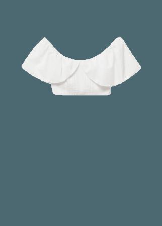 Cropped cotton blouse - Women | Mango USA