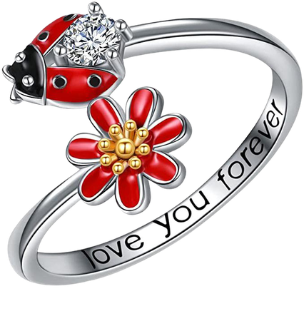 Amazon.com: POPLYKE Ldaybug Ring Jewelry for Women Sterling Silver Ldaybug Daisy Rings Gifts for Girls Friend Size 7-8 (8): Clothing, Shoes & Jewelry