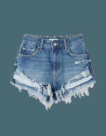 Denim shorts with pockets - Denim - Woman | Bershka