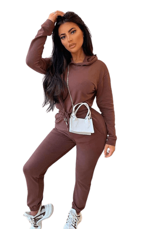 Brown Cropped Hoodie & Jogger Lounge Set   Clothing, New In, Loungewear, Two Piece Sets   Parisian Fashion