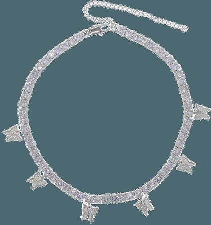 Butterfly Necklace Choker-Silver | Etsy