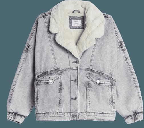 Denim jacket with faux shearling - Outerwear - Woman | Bershka
