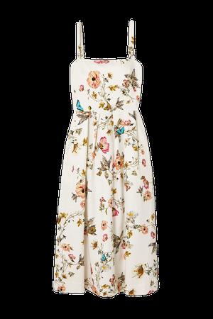 White Pleated floral-print cotton-blend midi dress   Monique Lhuillier   NET-A-PORTER
