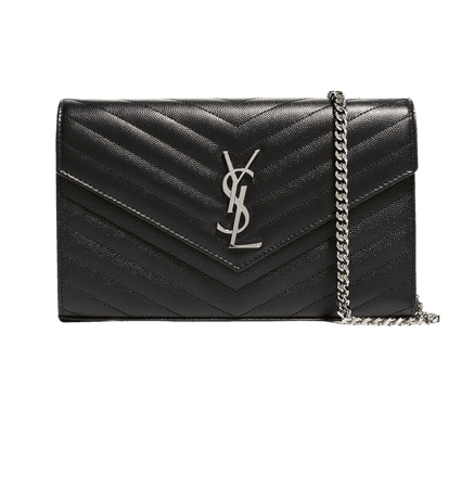 Saint Laurent Monogram Large Grain de Poudre Calfskin Wallet on Chain | Neiman Marcus