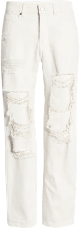 High Waist Nonstretch Deconstructed Ripped Mom Jeans   Nordstrom