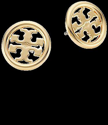 Tory Burch Miller Logo Goldtone Stud Earrings   SaksFifthAvenue