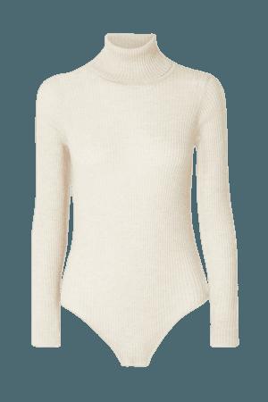 Susan Ribbed Cashmere Turtleneck Bodysuit - Beige