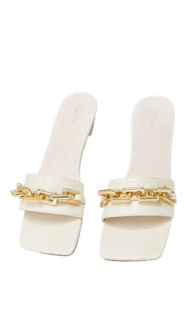 Cream Square Toe Chain Detail Faux Leather Mule Flat Sandal   PrettyLittleThing USA