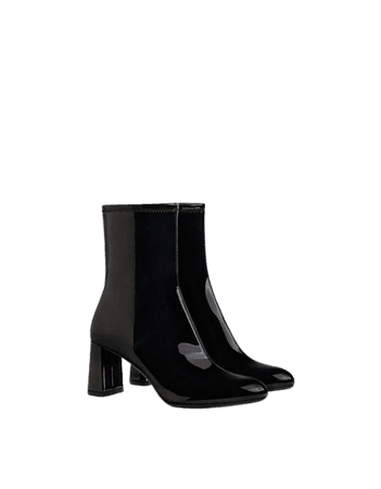 Bershka heeled ankle boots in black patent | ASOS