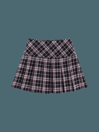 SHEIN Tartan Pleated Hem Skirt
