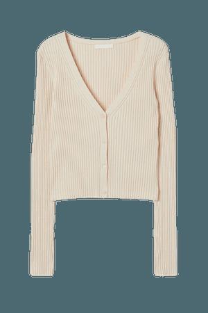 Rib-knit Cardigan - Light beige - Ladies | H&M US