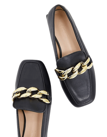 Z_Code_Z Exclusive Wide Fit Layla flat shoes with chain detail in black   ASOS