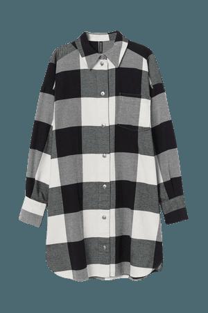 Cotton Shirt Dress - White black checked - Ladies   H&M US