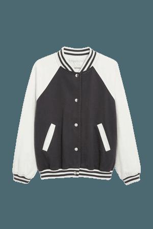 Varsity bomber jacket - Black and white block print - Bomber jackets - Monki WW