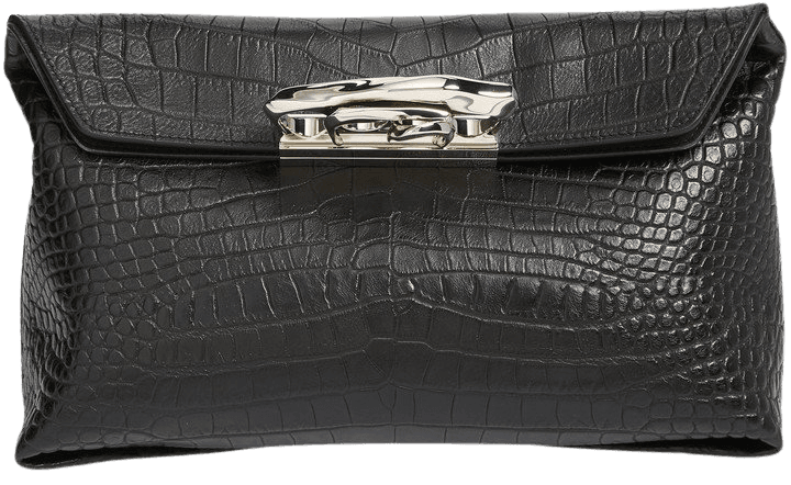 Sculptural Knuckle Clasp Croc Embossed Leather Clutch