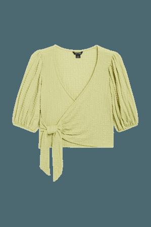 Wrap blouse - Green - Shirts & Blouses - Monki WW
