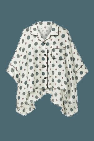 Off-white Asymmetric printed chiffon, twill and crepe de chine blouse | Sacai | NET-A-PORTER