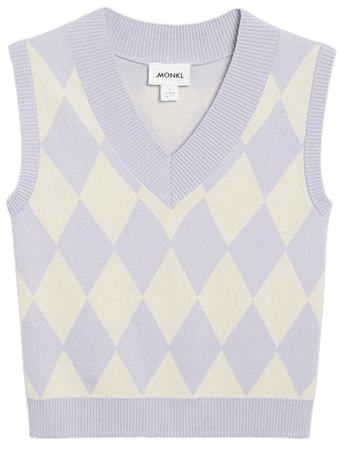 Knit vest - Lilac and white argyle - Knitted tops - Monki WW