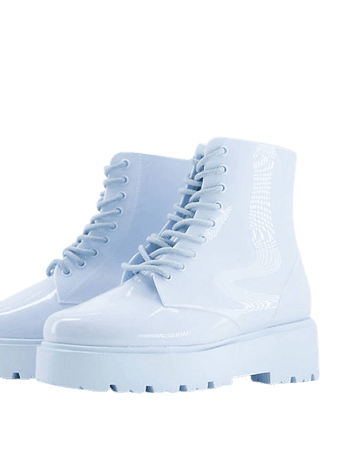 ASOS DESIGN Generate lace up wellie boots in pale blue | ASOS