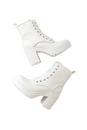 White Lace-Up Boots - Chunky Platform Boots - Cool Mid-Calf Boots