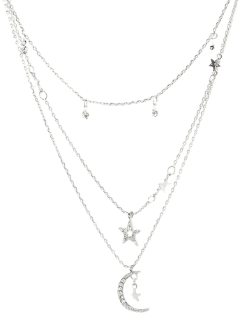 Sterling Silver Moon & Stars Layered Choker Necklace